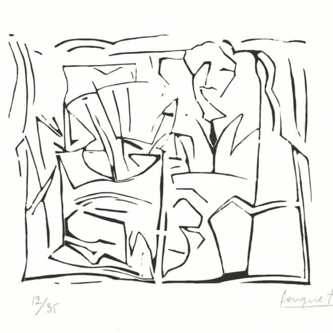 Atelier 3, 1989, linoléum sur Lana, plaque 25 x 39 cm