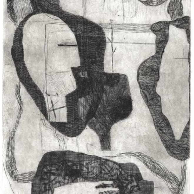 Cana 6, 01.02.11, burin sur cuivre sur BFK Rives, plaque 20 x 30 cm