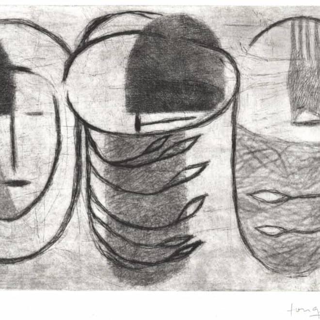 Cana 5, 24.09.13, pointe sèche sur zinc sur BFK Rives, plaque 20 x 30 cm