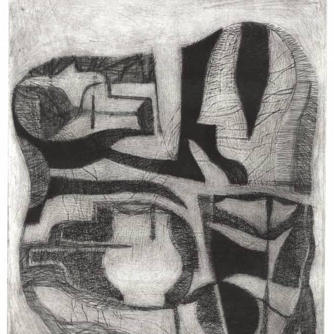 Cana 3, 04.03.12, burin et pointe sèche sur cuivre sur BFK Rives, plaque 30 x 20 cm