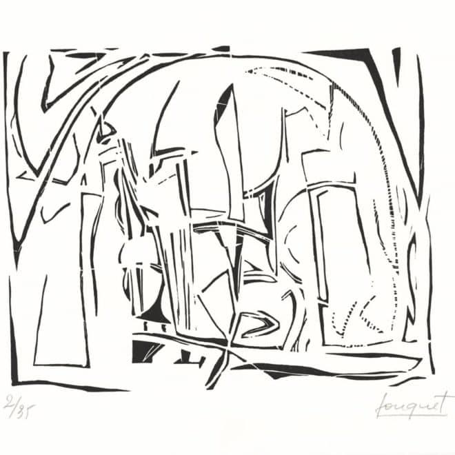 Atelier 2, 1989, linoléum sur Lana, plaque 25 x 39 cm