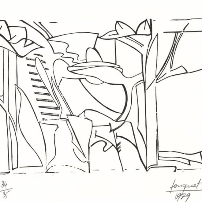Atelier 1, 1989, linoléum sur Lana, plaque 25 x 39 cm