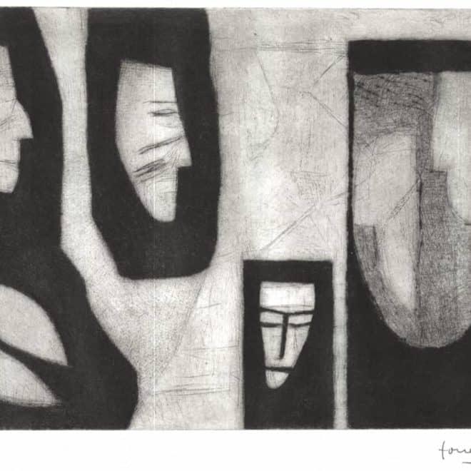 Sanhédrin 2, 15.09.14, pointe sèche sur cuivre sur BFK Rives, plaque 20 x 30 cm